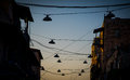 Lights in the streets of jerusalem during sunset nphoto taken on june Royalty Free Stock Images