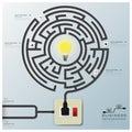 Ligne affaires infographic de maze light bulb electric wire Photographie stock