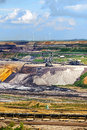 Lignite (brown coal) strip mining Garzweiler, Germany, vertical Royalty Free Stock Photo