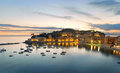 Liguria night panoramic view of bay and town on sunset in sestri levante famous resort in mediterranean sea italy Stock Images