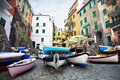 Liguria street of village riomaggiore in cinque terre in evening italy Royalty Free Stock Photos