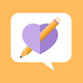 Like comment concept pencil into heart shape illustrated Royalty Free Stock Photo