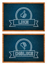 Like and dislike button hand drawn with rthe chalk on the classroom chalkboard Royalty Free Stock Image