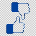 Like and Dislike Icon. Thumbs Up and Thumb Down, Hand or Finger Illustration on Transparent Background. Symbol of