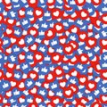Like and heart icons seamless background. Thumbs up and red heart buttons stream for live video chat or application. Vector.