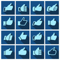 Like set icons on blue squares hands with shadow vector illustration Stock Photo
