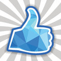 Like symbol thumbs up polygon created vector eps Royalty Free Stock Image