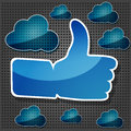 Like symbol with transparency blue clouds Royalty Free Stock Photography