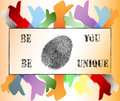Like and Thumbs Up symbol Be Yourself Fingerprint Royalty Free Stock Photos
