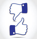 Like and Unlike, Thumps up and Thumps down Royalty Free Stock Photo