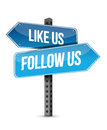Like us and follow us street sign Royalty Free Stock Photo