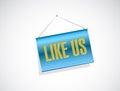 Like us hanging banner sign concept illustration design over white Stock Photography