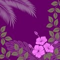 Lilac background with abstract exotic plants Stock Photos