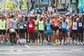 Lilac bloomsday k fun run starting line horizontal photo of men s elite leaders pack at the in spokane wa Stock Image