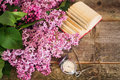 Lilac branch against a blurred background of clock and books Royalty Free Stock Photo