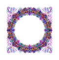 Lilac floral round frame for scrapbook Royalty Free Stock Photo