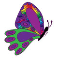 Lilac isolated butterfly with abstract colorful pattern on the w