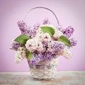 Lilac In Vase. Vintage Retro H...