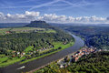 Lilienstein mesa above the river elbe view to mountain and these are part of beautiful national park sächsische schweiz in saxony Stock Photos