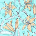 Lilies pastel floral seamless pattern beautiful in colors Royalty Free Stock Photography