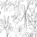 Lilies pattern superposed Royalty Free Stock Photo