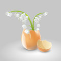 Lilies of the valley in eggshell vector illustration a Stock Photo