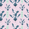 Lilies of the valley seamless pattern pastel pink background on Royalty Free Stock Photos