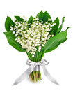 Lilies of the valley spring bouquet flowers on white background Stock Photography
