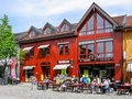 Lillehammer city centre norway restaurant and shops in the of oppland Stock Photo