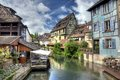 Lillte venise in colmar in hdr little alsace france typical house the background Royalty Free Stock Photography