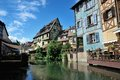 Lillte venise in colmar little alsace france typical house the background Royalty Free Stock Photo