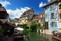Lillte venise in colmar little alsace france typical house the background Stock Photos