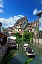 Lillte venise in colmar little alsace france typical house the background Stock Images