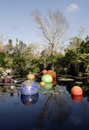 Lilly pond with glass spheres Royalty Free Stock Images