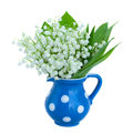 Lilly of the valley bouquet in blue vase isolated on white background Royalty Free Stock Photos