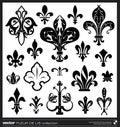 Lily flower fleur de lis vector vector collection vintage emblems Stock Image