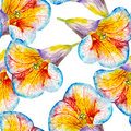 Lily flower watercolor seamless pattern. Bright tropical flowers isolated on white background. Royalty Free Stock Photo