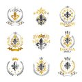 Lily Flowers Royal symbols emblems set. Heraldic Coat of Arms de Royalty Free Stock Photo