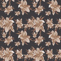 Lily flowers - wallpaper. Drawing pastel. Seamless pattern.