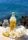Lily oil madonna maceration in the extra virgin olive Stock Photos