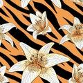 Lily tiger type on tiger skin pattern seamless