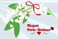 The lily of the valley as lucky charm french texted card muguet porte bonheur with lillies red ribbon ladybug on a Stock Photos