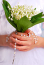 Lily of the valley bunch for the first holly communion holy Royalty Free Stock Photos