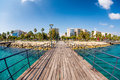Limassol, Enaerios Seafront, view from old wooden pier. Cyprus Royalty Free Stock Photo