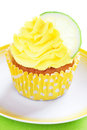 Lime cupcake with lemon cream selective focus Stock Photos
