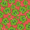 Lime flowers hibiscus seamless living coral background