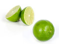 Lime fresh and slice isolated on white background Royalty Free Stock Photo