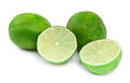 Lime fruit on white four background small natural shadow in front Royalty Free Stock Photography