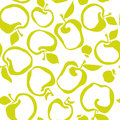 Lime green color simple flat apple fruit seamless pattern