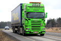 Lime Green Scania R500 Semi Trailer on the Road